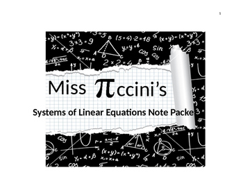 Algebra - Systems of Linear Equations - Note Packet
