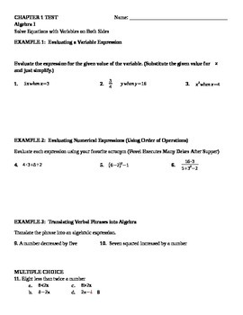 Algebra 1 TEST Chapter 1