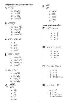 Algebra TEST (Radicals)
