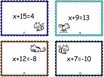 Algebra Task Card **BUNDLE** (equations, expressions)