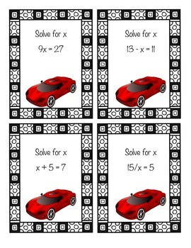 Algebra Task Card Racing Game - The Fast and the Furious