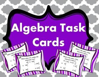 Algebra Task Cards { Math Centers }