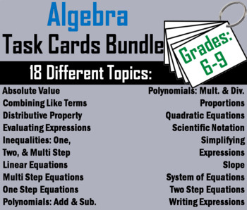 6th 7th 8th 9th Grade Algebra Task Cards Bundle