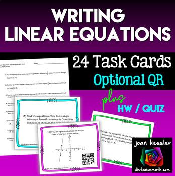 Algebra Writing  Linear Equations Task Cards QR  HW