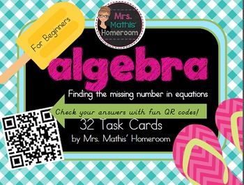 Algebra Task Cards: Finding the Missing Number