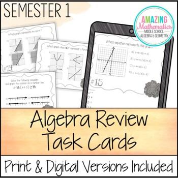 Algebra Task Cards - First Semester