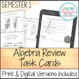 Algebra 1 Task Cards - First Semester - PDF & Digital