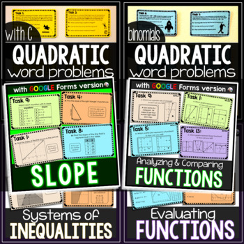 Algebra Task Cards Bundle