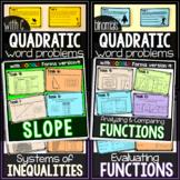 Algebra Tasks Bundle - print and digital