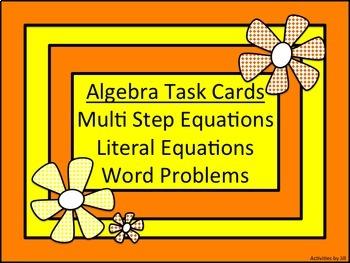 Algebra Task Cards: Multi-Step & Literal Equations & Word