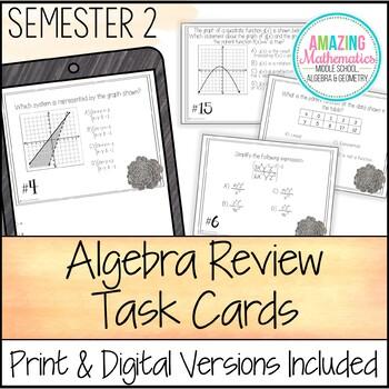 Algebra Task Cards - Second Semester