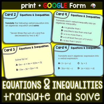 Equations and Inequalities Translate & Solve Task Cards