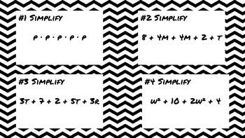 Algebra Task Cards for Sixth Grade