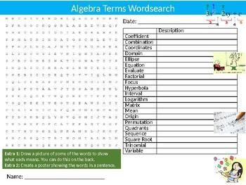 Algebra Terms Wordsearch Puzzle Sheet Starter Activity Keywords Math Mathematics