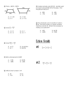 Algebra Test (Equations, Proportions, and Percents)