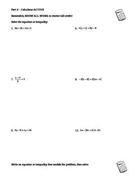 Algebra Test: Linear Equations & Inequalities