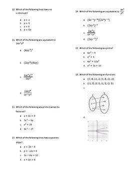 Algebra Test Prep