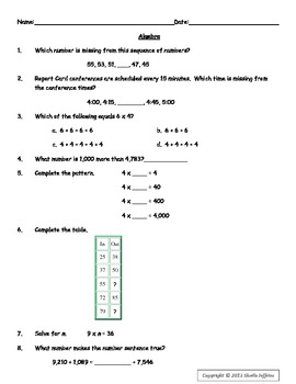Algebra Test Prep Sheet for Grades 3 and 4