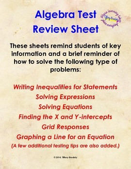 Algebra Test Review Tips