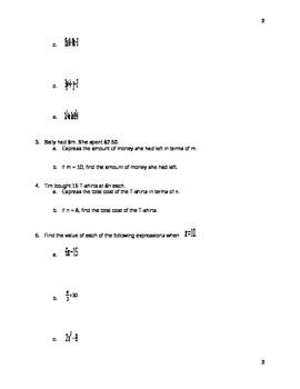 Algebra Test - Sixth Grade