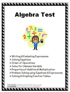 Algebra Test and Review