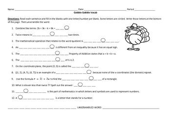 Algebra Thanksgiving-Themed Activities