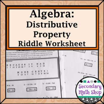 Distributive Property Practice Riddle Worksheet