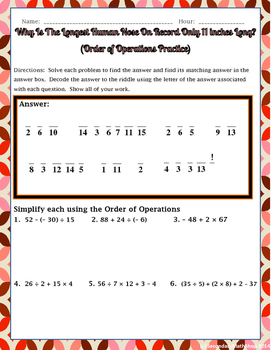 Order of Operations Practice Riddle Worksheet
