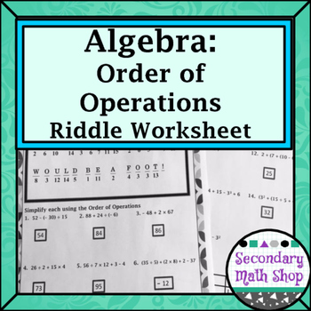 Order of Operations Practice Riddle Worksheet