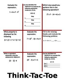 Algebra Think Tac Toe