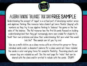 Algebra Thinking:  Balancing Equation Task Card FREEBIE