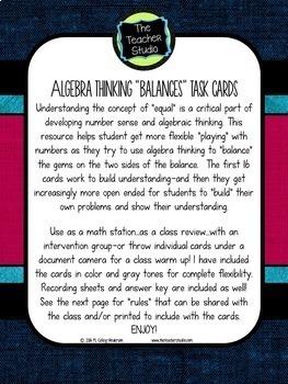 Algebraic Thinking:  Balancing Equation Problem Solving Task Cards