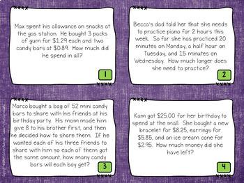 Multi Step Word Problem Task Cards: Grade 3-4