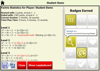 Algebra Tile Factris - Teacher Account