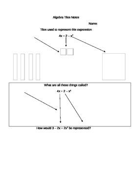 Algebra Tile guided notes