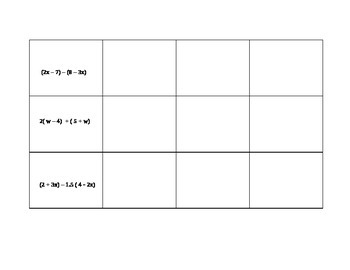 Algebra Tiles Graphic Organizer