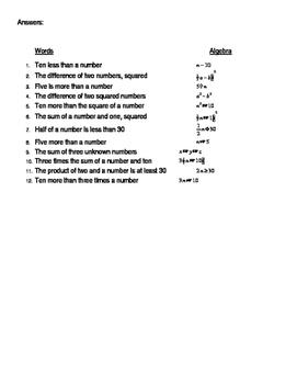 Algebra - Translating Words to Algebra Matching Cards Activity (docx)