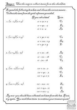 Algebra Treasure Challenge - Multiplying binomials (FOIL)