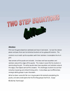 Algebra Two Step Equations 4x4 Math Puzzles