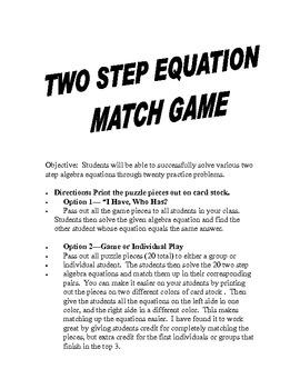 Algebra Two Step Equations Match Game