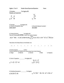 Algebra Unit 1 Test: Pre Req Skills NS/Exp/Equa