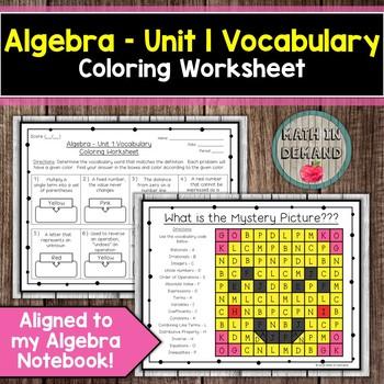 Algebra - Unit 1 Vocabulary Coloring Worksheet