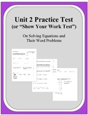 Algebra: Unit 2 - Practice Test or Review on Solving Equations and Word Problems