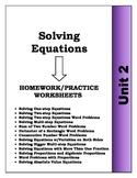 Algebra: Unit 2 - Solving Equations and Word Problems Homework Worksheets Bundle