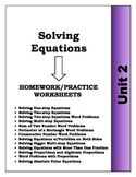 Algebra: Unit 2 - Solving Equations and Word Problems Home