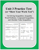 Algebra: Unit 3 - Practice Test or Review on Solving Inequalities