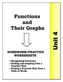 Algebra: Unit 4 - Graphs and Functions Homework Worksheets Bundle