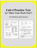 Algebra: Unit 4 Practice Test or Review on Relations and Functions