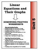Algebra: Unit 5 - Linear Equations and Their Graphs Homework Worksheets Bundle