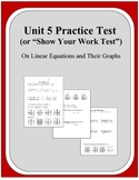 Algebra: Unit 5 Practice Test or Review on Linear Equations and Their Graphs